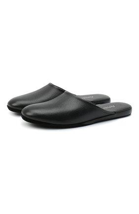 Мужского кожаные домашние туфли FARFALLA черного цвета, арт. C0RMA5SC | Фото 1 (Материал внутренний: Натуральная кожа; Мужское Кросс-КТ: тапочки-обувь)