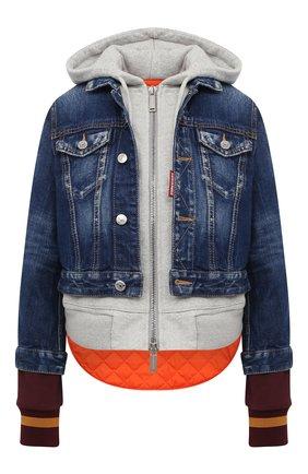 Женская комбинированная куртка DSQUARED2 синего цвета, арт. S75AM0755/S30663   Фото 1