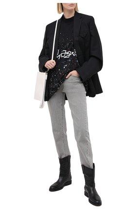 Женская хлопковая футболка PALM ANGELS черного цвета, арт. PWAA017F20JER0061001 | Фото 2