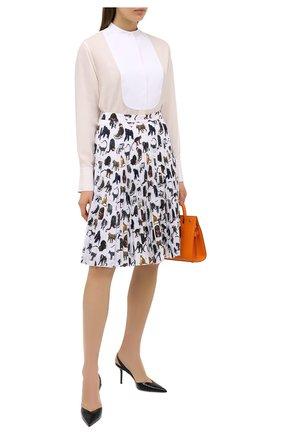 Женская юбка BURBERRY разноцветного цвета, арт. 8031262   Фото 2 (Материал подклада: Шелк; Материал внешний: Синтетический материал; Длина Ж (юбки, платья, шорты): До колена; Женское Кросс-КТ: Юбка-одежда; Стили: Романтичный)