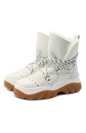 Женские замшевые ботинки INUIKII белого цвета, арт. 70202-117 | Фото 1