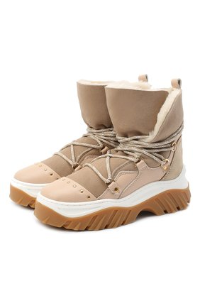 Женские замшевые ботинки INUIKII бежевого цвета, арт. 70202-117 | Фото 1