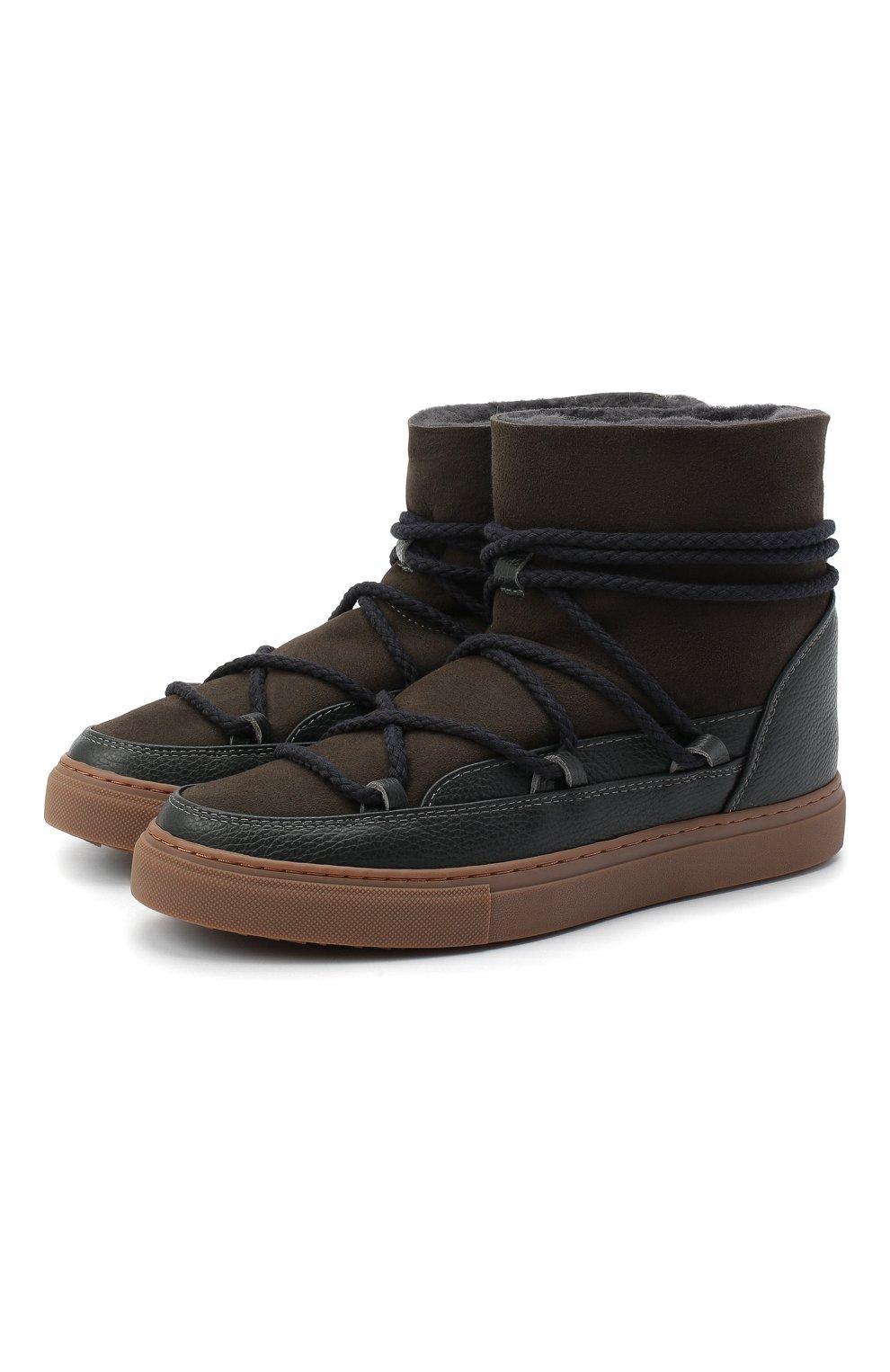 Мужские замшевые сапоги INUIKII коричневого цвета, арт. 50202-1 | Фото 1 (Материал утеплителя: Натуральный мех; Мужское Кросс-КТ: зимние сапоги, Сапоги-обувь; Подошва: Массивная; Материал внешний: Замша)