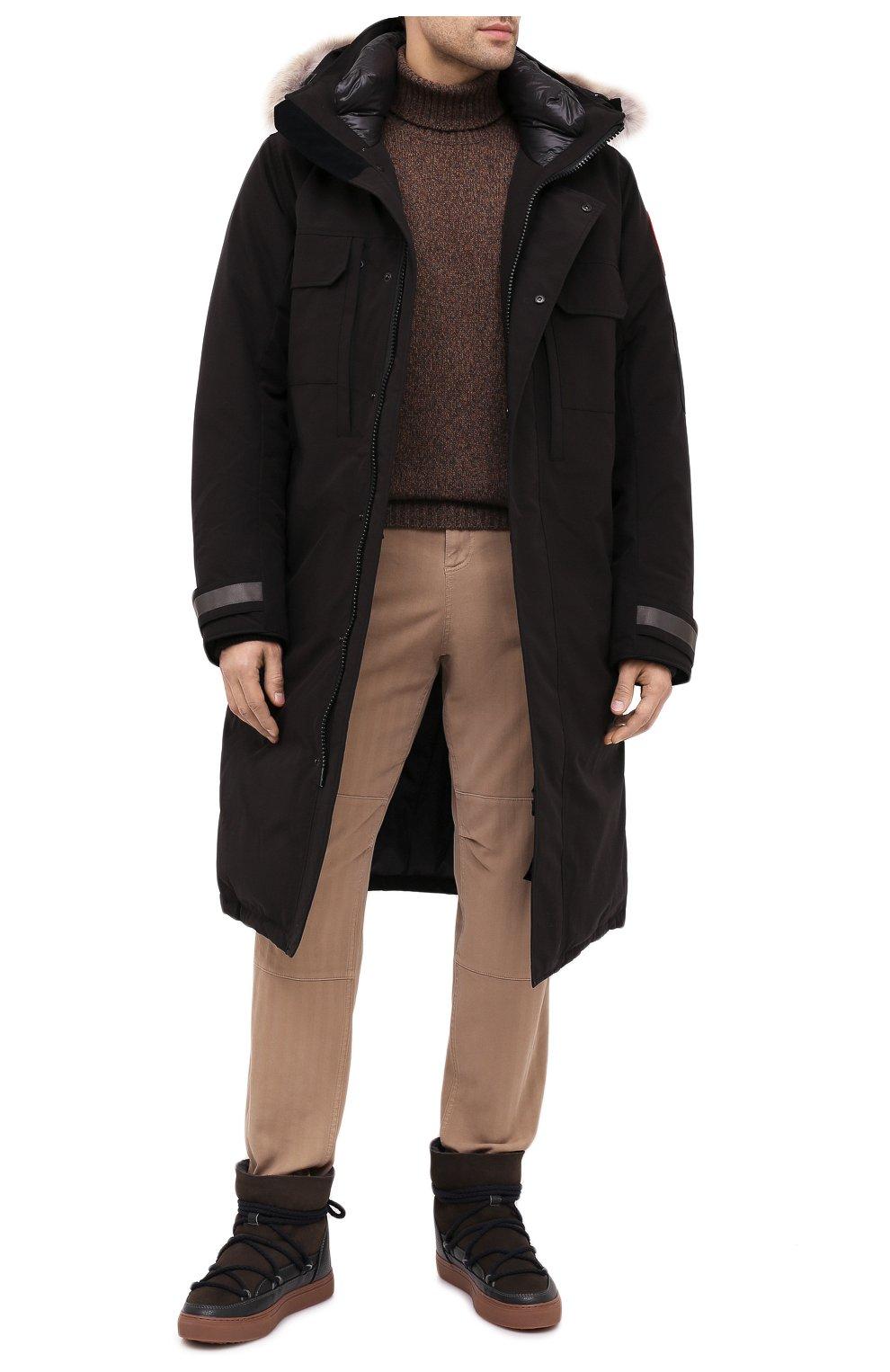 Мужские замшевые сапоги INUIKII коричневого цвета, арт. 50202-1 | Фото 2 (Материал утеплителя: Натуральный мех; Мужское Кросс-КТ: зимние сапоги, Сапоги-обувь; Подошва: Массивная; Материал внешний: Замша)