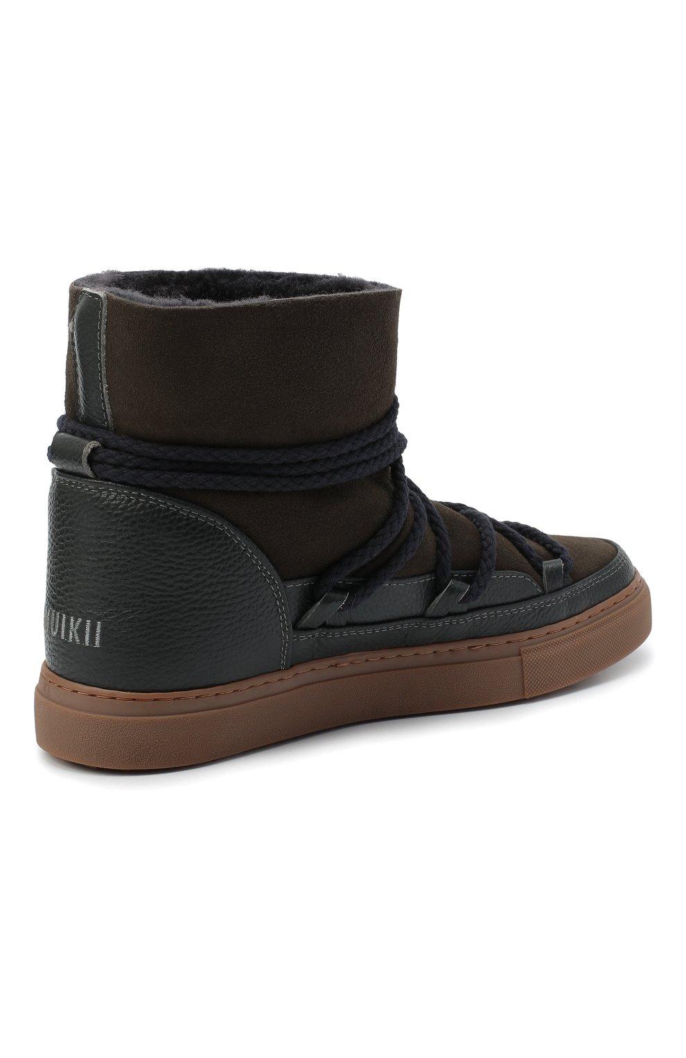 Мужские замшевые сапоги INUIKII коричневого цвета, арт. 50202-1 | Фото 4 (Материал утеплителя: Натуральный мех; Мужское Кросс-КТ: зимние сапоги, Сапоги-обувь; Подошва: Массивная; Материал внешний: Замша)