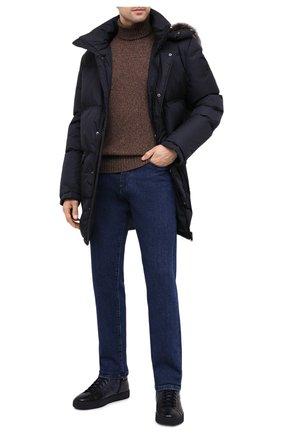 Мужские кожаные кеды SANTONI темно-синего цвета, арт. MBGL208700CNPGSXU60 | Фото 2