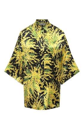 Женская шелковая блузка BALENCIAGA желтого цвета, арт. 595038/TJL16   Фото 1