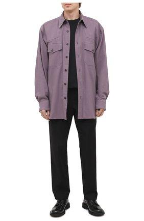 Мужская хлопковая рубашка DRIES VAN NOTEN сиреневого цвета, арт. 202-20719-1273 | Фото 2