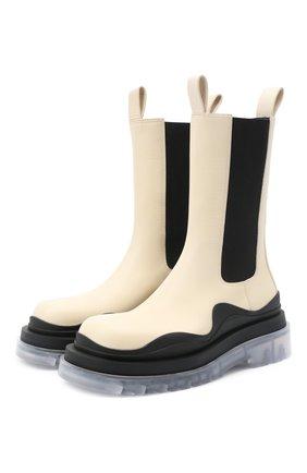 Женские кожаные ботинки bv tire BOTTEGA VENETA светло-бежевого цвета, арт. 630297/VBS50 | Фото 1