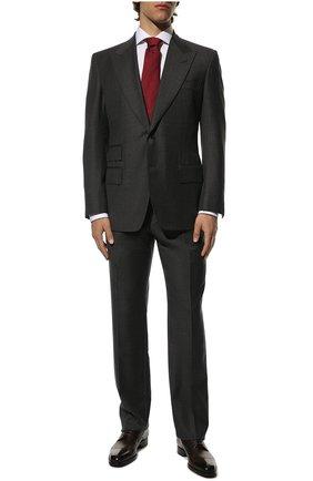 Мужской шерстяной костюм TOM FORD серого цвета, арт. Q22R01/21AL43 | Фото 1 (Материал подклада: Купро, Шелк; Рукава: Длинные; Материал внешний: Шерсть; Костюмы М: Однобортный; Стили: Классический)