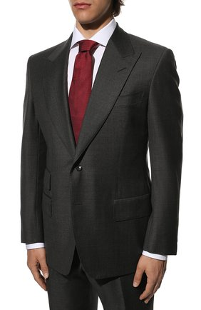 Мужской шерстяной костюм TOM FORD серого цвета, арт. Q22R01/21AL43 | Фото 2 (Материал подклада: Купро, Шелк; Рукава: Длинные; Материал внешний: Шерсть; Костюмы М: Однобортный; Стили: Классический)