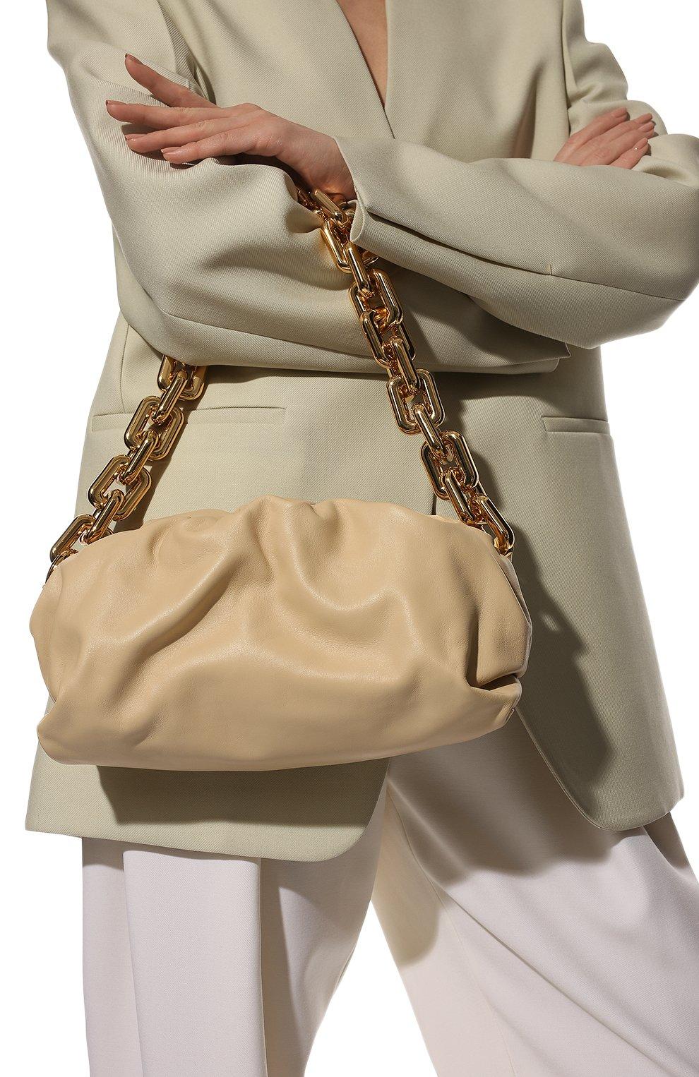 Женская сумка chain pouch BOTTEGA VENETA светло-бежевого цвета, арт. 620230/VCP40 | Фото 2