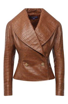 Женская кожаная куртка RALPH LAUREN коричневого цвета, арт. 290815964 | Фото 1