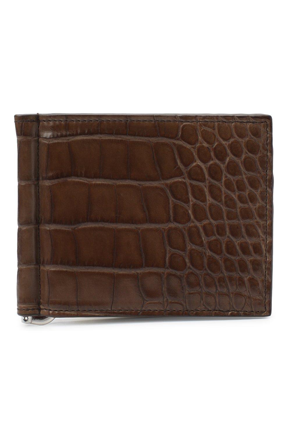 Мужской зажим для денег из кожи аллигатора BRIONI коричневого цвета, арт. 0HSG0L/09718/AMIS | Фото 1