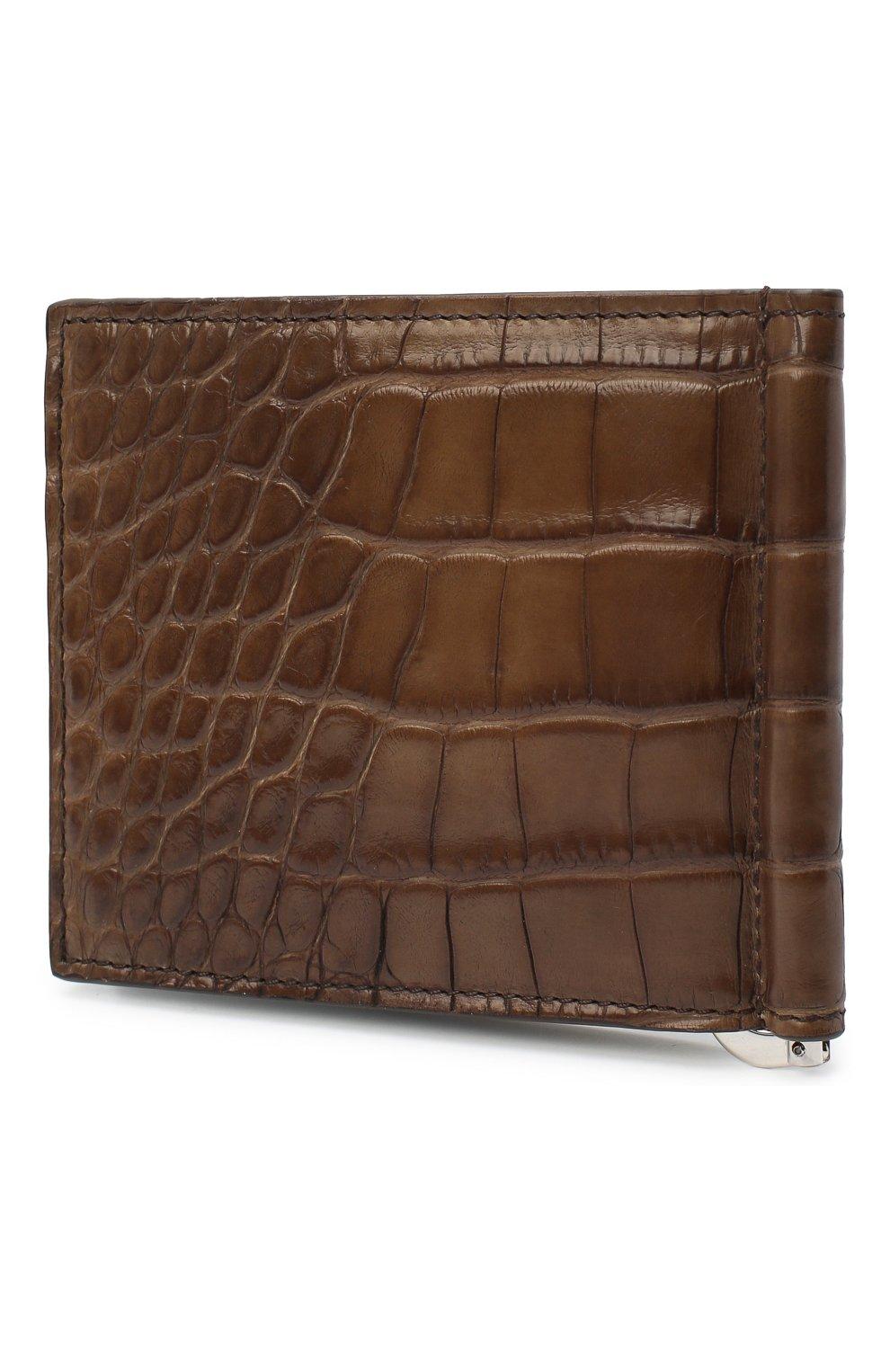 Мужской зажим для денег из кожи аллигатора BRIONI коричневого цвета, арт. 0HSG0L/09718/AMIS | Фото 2