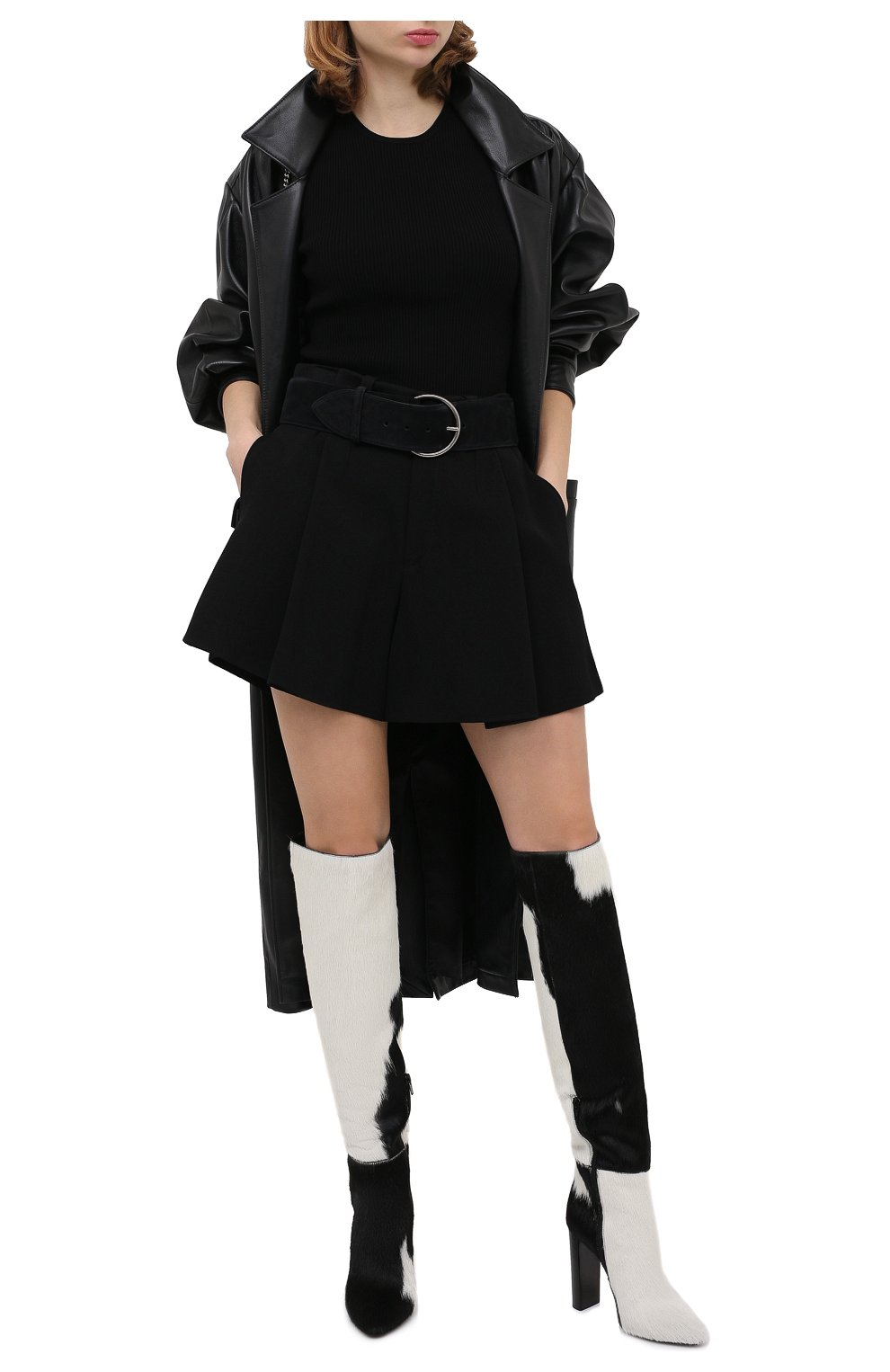 Женские кожаные сапоги SAINT LAURENT черно-белого цвета, арт. 630858/1ZK00   Фото 2
