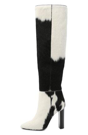 Женские кожаные сапоги SAINT LAURENT черно-белого цвета, арт. 630858/1ZK00   Фото 3