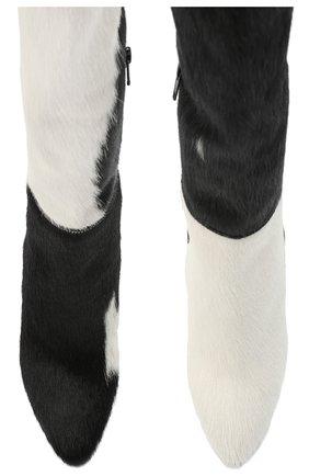 Женские кожаные сапоги SAINT LAURENT черно-белого цвета, арт. 630858/1ZK00   Фото 5