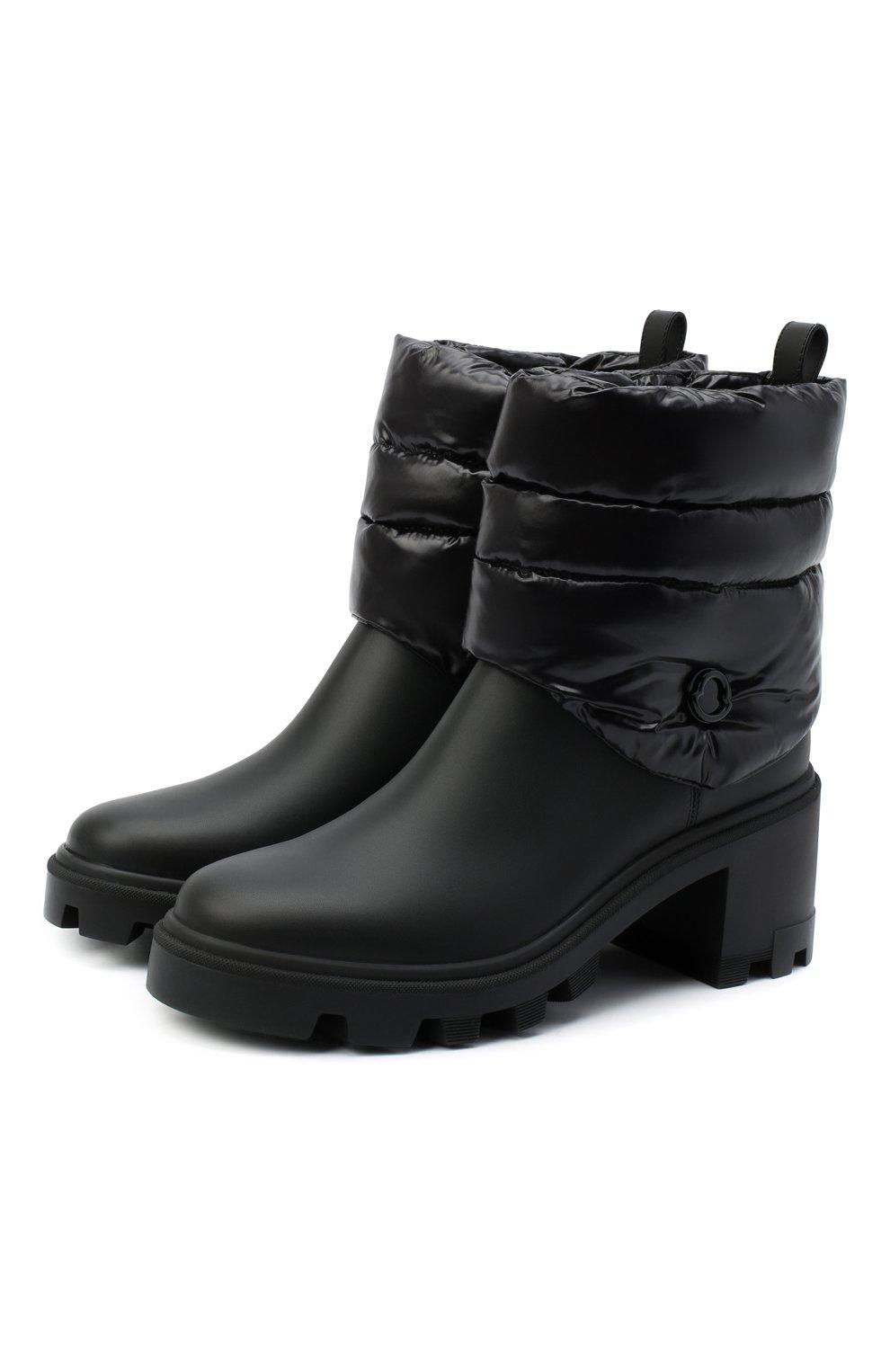 Женские кожаные ботильоны MONCLER черного цвета, арт. F2-09B-4F707-00-02SE7   Фото 1