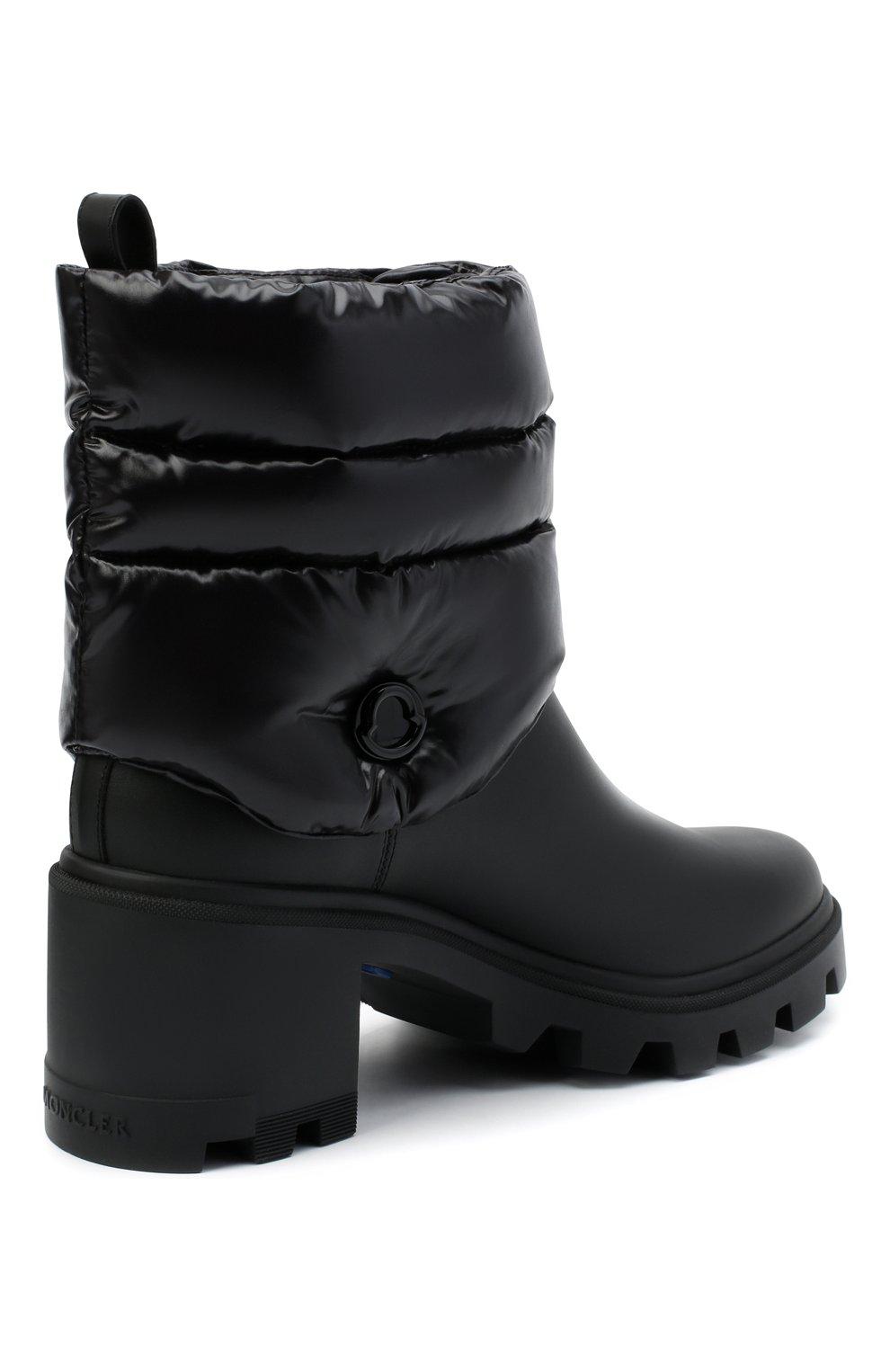 Женские кожаные ботильоны MONCLER черного цвета, арт. F2-09B-4F707-00-02SE7   Фото 4