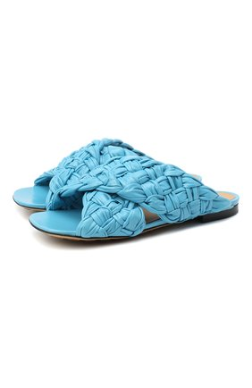 Женские кожаные шлепанцы bv board BOTTEGA VENETA голубого цвета, арт. 631935/VBT10 | Фото 1