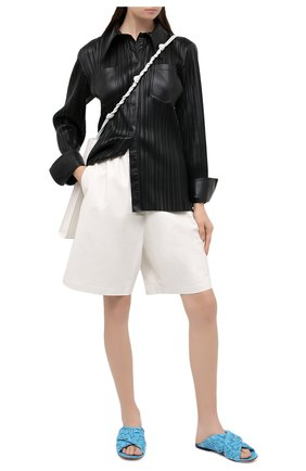 Женские кожаные шлепанцы bv board BOTTEGA VENETA голубого цвета, арт. 631935/VBT10 | Фото 2