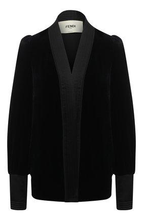 Женский жакет из вискозы и шелка FENDI черного цвета, арт. FJ7109 AC6X   Фото 1