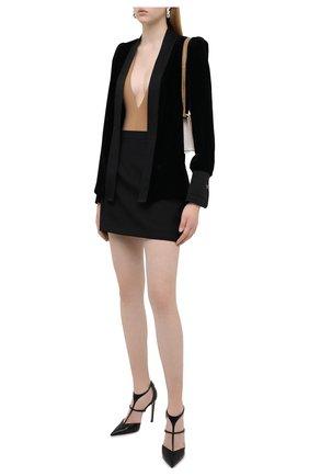 Женский жакет из вискозы и шелка FENDI черного цвета, арт. FJ7109 AC6X   Фото 2