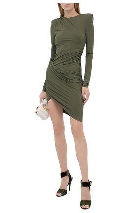Женские текстильные босоножки TOM FORD хаки цвета, арт. W2687T-TSA007 | Фото 2 (Материал внутренний: Натуральная кожа; Подошва: Плоская; Каблук высота: Высокий; Материал внешний: Текстиль; Каблук тип: Шпилька)
