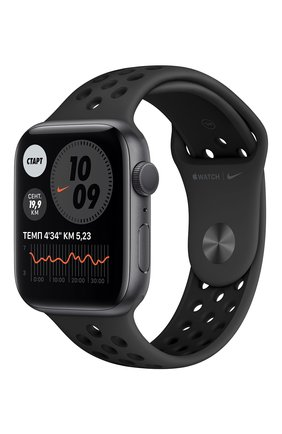 Смарт-часы apple watch nike series 6 gps 44mm space gray aluminium case with anthracite/black nike sport band APPLE  space gray цвета, арт. MG173RU/A | Фото 1