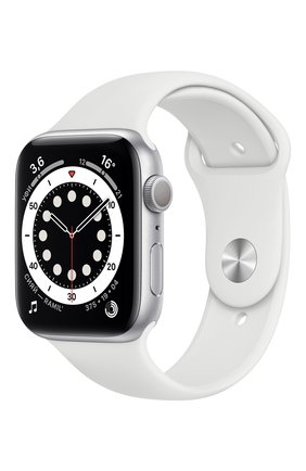 Смарт-часы apple watch series 6 gps 44mm silver aluminium case with white sport band APPLE  silver цвета, арт. M00D3RU/A | Фото 1