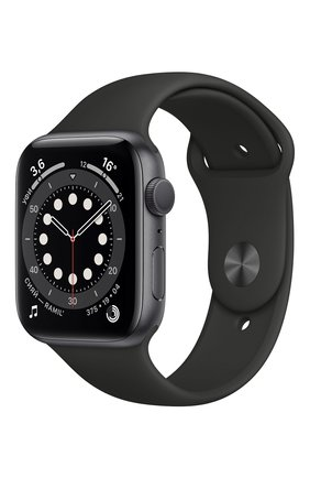 Смарт-часы apple watch series 6 gps 44mm space gray aluminium case with black sport band APPLE  space gray цвета, арт. M00H3RU/A | Фото 1