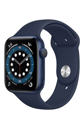 Смарт-часы apple watch series 6 gps 44mm blue aluminium case with deep navy sport band APPLE  blue цвета, арт. M00J3RU/A | Фото 1