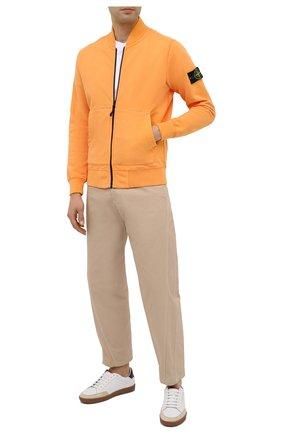Мужская хлопковая толстовка STONE ISLAND оранжевого цвета, арт. 731560220 | Фото 2