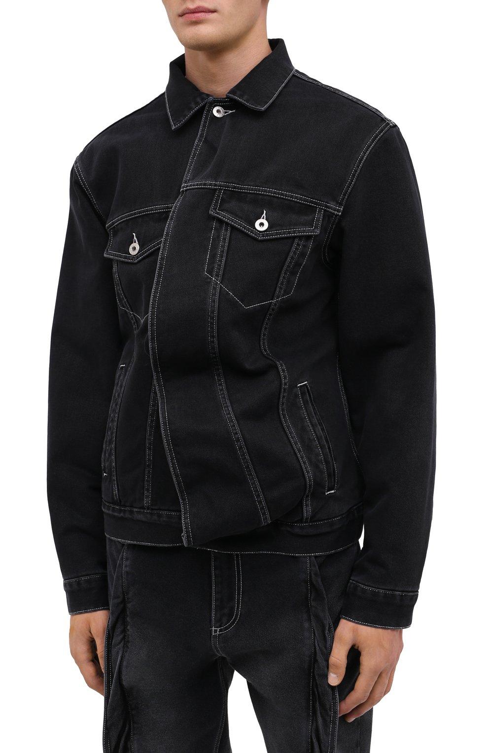 Мужская джинсовая куртка Y/PROJECT черного цвета, арт. JACK66-S19 D06 | Фото 3