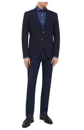 Мужская хлопковая рубашка LUIGI BORRELLI синего цвета, арт. EV08/NAND0/TS30023 | Фото 2