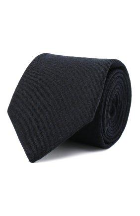Мужской галстук из кашемира и шерсти LUIGI BORRELLI темно-синего цвета, арт. LC80-R/TT30065 | Фото 1