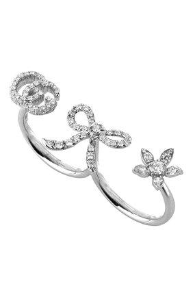 Женские кольцо на два пальца GUCCI бесцветного цвета, арт. YBC582021001   Фото 1