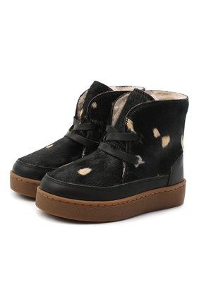 Детские кожаные ботинки DONSJE AMSTERDAM черного цвета, арт. 1011-CB005-00000 | Фото 1