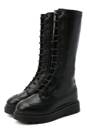Детские кожаные сапоги EMPORIO ARMANI черного цвета, арт. XX0002/X0R04/28-34 | Фото 1
