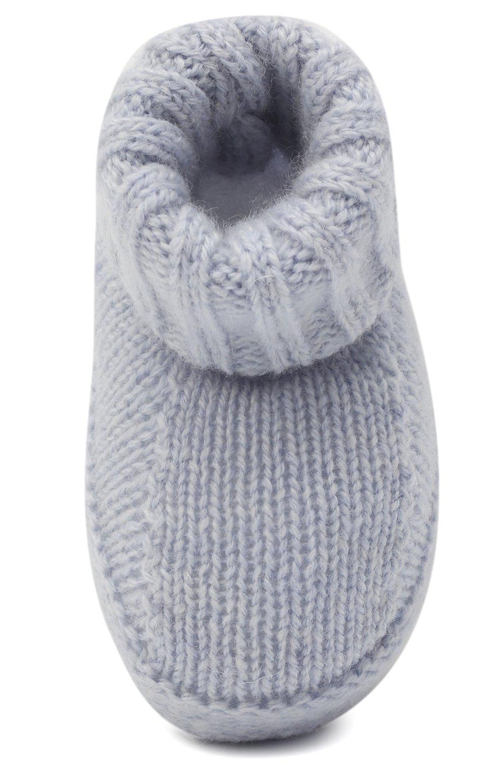Детские шерстяные пинетки BABY T голубого цвета, арт. 20AI063SA | Фото 4