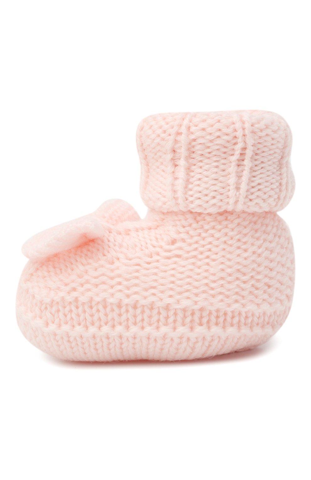 Детские шерстяные пинетки BABY T светло-розового цвета, арт. 20AI103SA   Фото 2