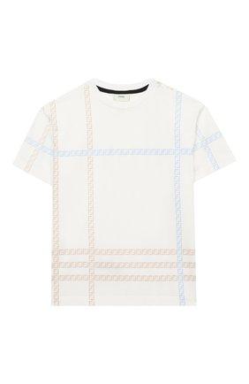 Детская хлопковая футболка FENDI белого цвета, арт. JMI337/7AJ/8A-12+   Фото 1