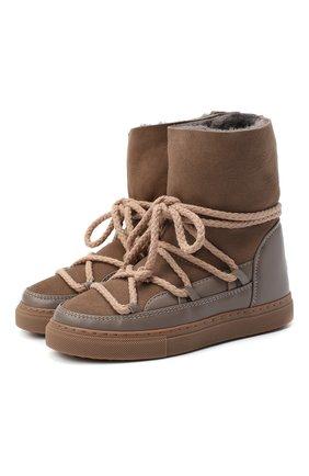Детские кожаные ботинки INUIKII серого цвета, арт. 60207-1/34-38 | Фото 1
