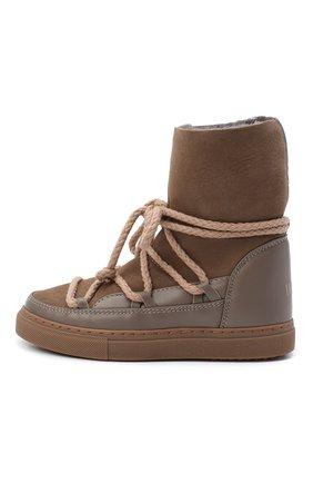 Детские кожаные ботинки INUIKII серого цвета, арт. 60207-1/34-38 | Фото 2