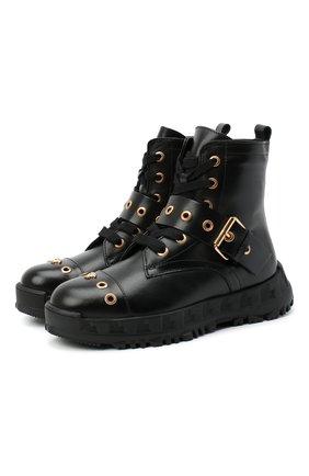 Детские кожаные ботинки VERSACE черного цвета, арт. YHF00062/YB00238/30-33 | Фото 1