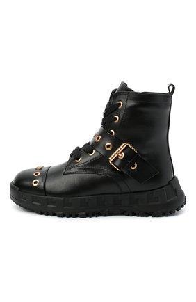 Детские кожаные ботинки VERSACE черного цвета, арт. YHF00062/YB00238/27-29 | Фото 2