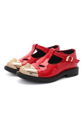Детские кожаные туфли VERSACE красного цвета, арт. YGF00053/YB00173 | Фото 1