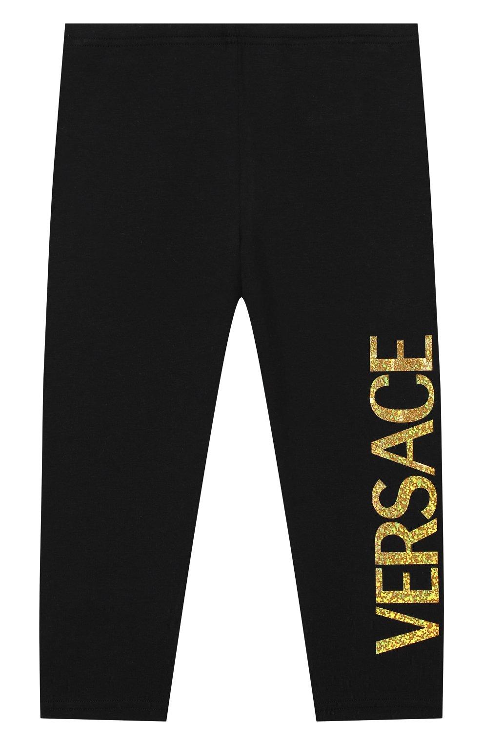 Детские хлопковые брюки VERSACE черного цвета, арт. YA000169/A234592 | Фото 1
