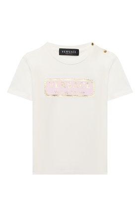 Детский хлопковая футболка VERSACE белого цвета, арт. YB000178/YA00019 | Фото 1